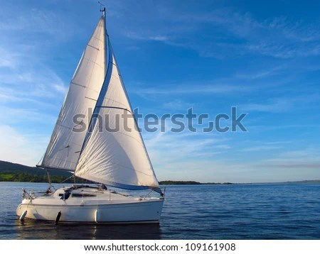 Sail Boat on Lough Derg, Ireland - stock photo