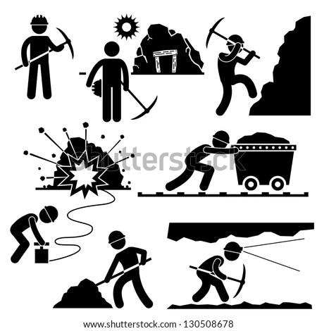 Mining Worker Miner Labor Stick Figure Pictogram Icon - stock vector