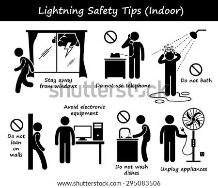 Lightning Thunder Indoor Safety Tips Stick Figure