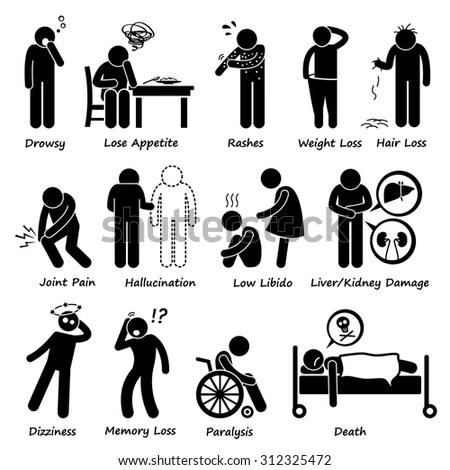 Asthma Illness Stick Figure Pictogram… Stock Photo