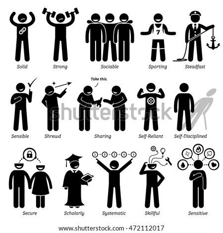 Positive Personalities Character Traits. Stick Figures Man