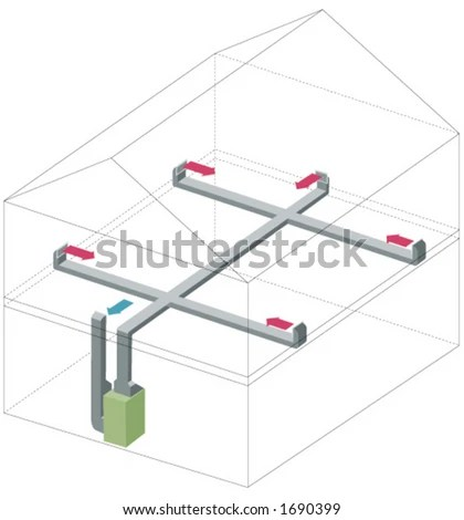 Diagram Of A Home Heating System Stock Vector Illustration