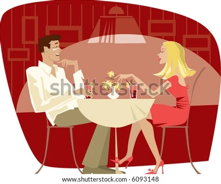 stock photo : Couple talking in the quiet  cafe