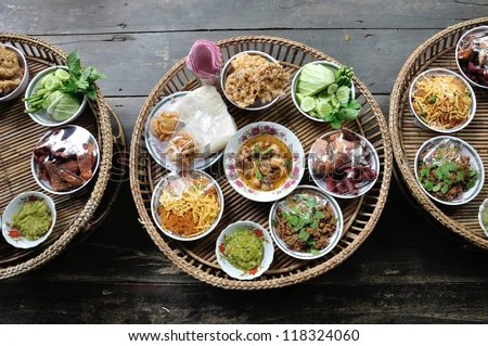 Kantoke, traditionally meal set was popular in North of Thailand, particularly Chiang Mai. - stock photo