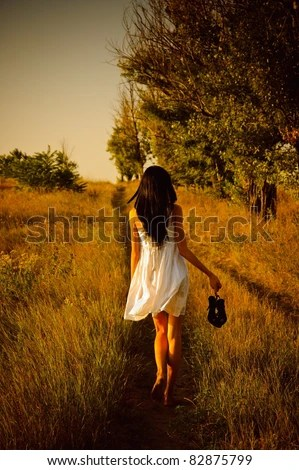 Creepy Little Girl Wallpaper The Barefoot Girl In White Dress With Shoes In Hand Is On