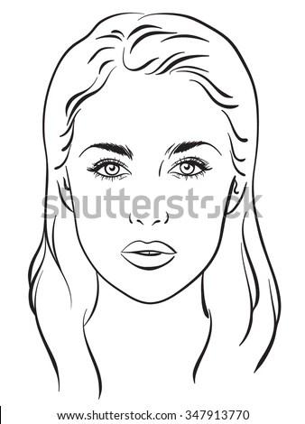 Beautiful Woman Portrait. Face Chart Makeup Artist Blank