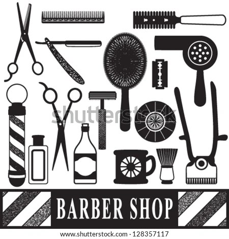 Vintage barber shop tools silhouette… Stock Photo