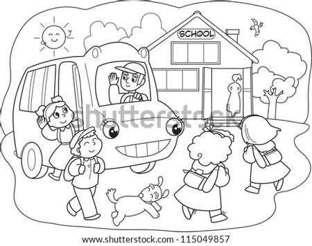 Cartoon Pupils Going To School With Schoolbus Stock Vector