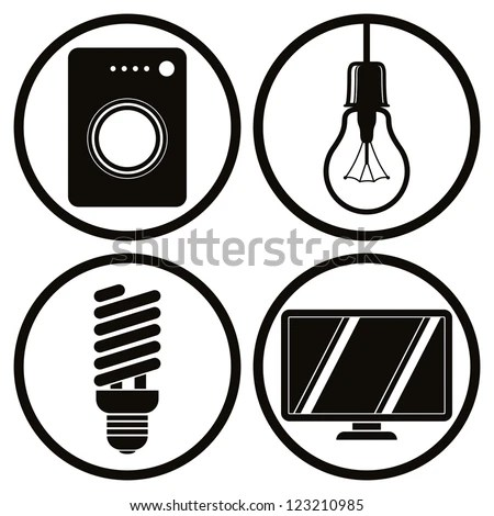 Household Appliances Icons Set, Washing Machine, Light