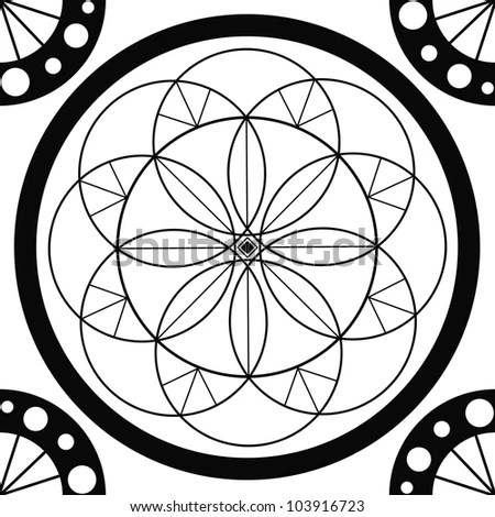 Royalty-free Gothic rosette window pattern, vector