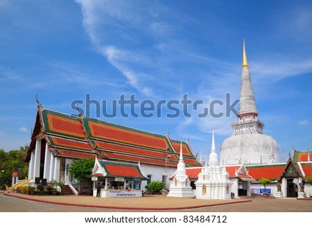 Ancient Pagoda in Wat Mahathat temple, Nakhon Si Thammarat ,Southern of Thailand - stock photo
