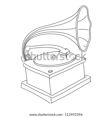 Vintage Gramophone Isolated On White. Hand Drawing Sketch