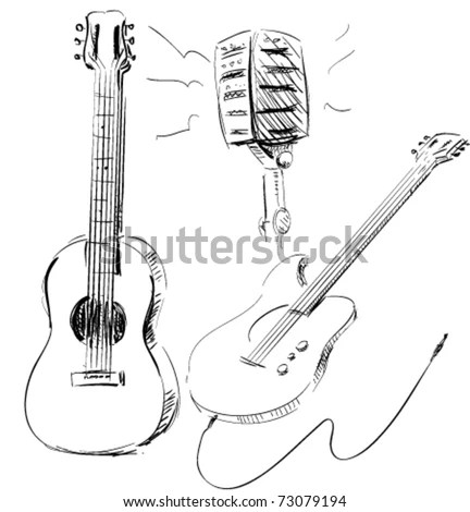 Guitar Music Microphone Icon Set Hand Drawn Illustrations