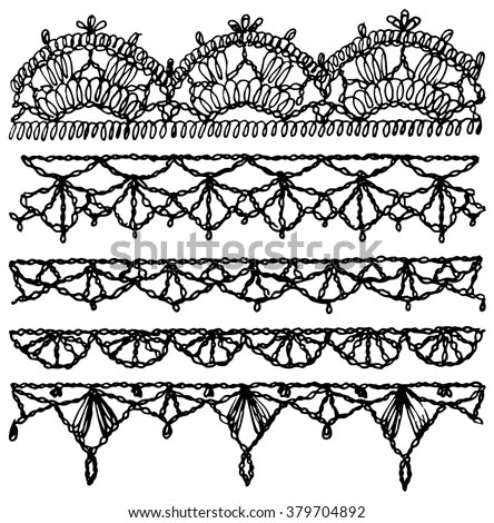 Set Of Isolated Knitted Lace Borders With An Openwork