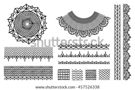 A Set Of Knitted Items, Crochet Doily Collar Neckline
