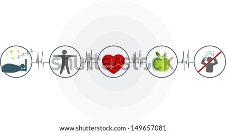 Healthy lifestyle symbol collection.… Stock Photo