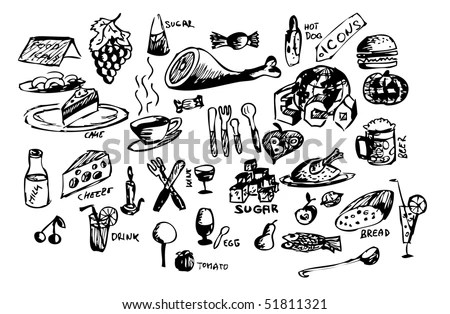 Hand Draw Food Symbols Stock Vector Illustration 51811321