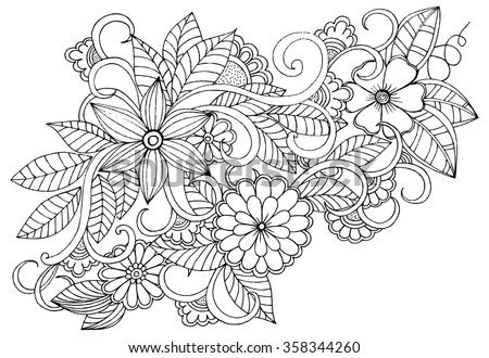 Black-and-white floral arrangement in… Stock Photo