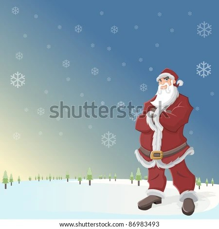 santa claus in landscape with snow