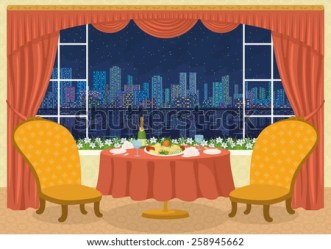 restaurant table dining background chairs cartoon napkins champagne plates glasses vector editorial shutterstock