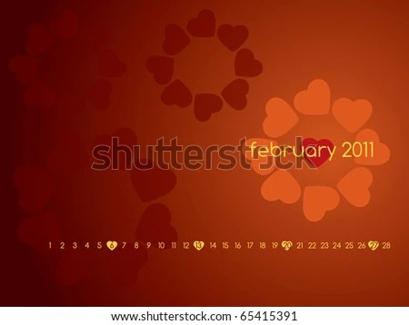stock photo : Monthly calendar wallpaper for 2011 - February