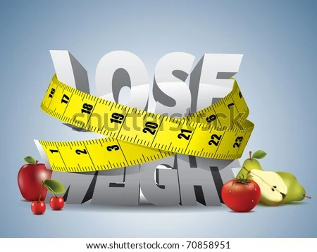 stock vector : Lose weight text with measure tape and fruits