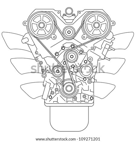 Internal Combustion Engine, As Seen From In Front. Vector