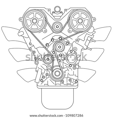 Internal Combustion Engine, As Seen From In Front