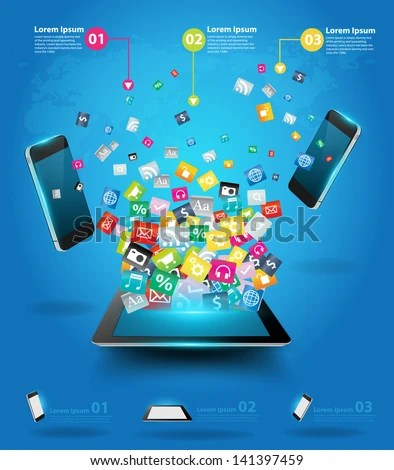 Creative tablet computer with mobile phones cloud of colorful application icon, Business software and social media networking online store service concept, Vector illustration modern template design - stock vector