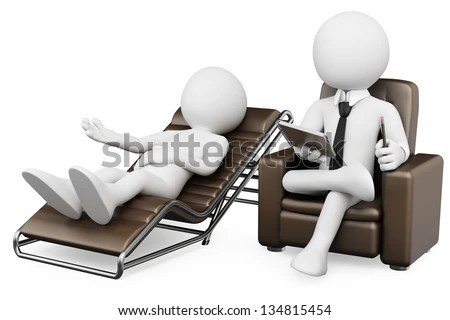 3d white psychologist with a patient. 3d image. Isolated white background. - stock photo