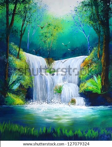 Fall Mountain Scenery Wallpaper Watercolor Painting Of Waterfall Stock Photo 127079324
