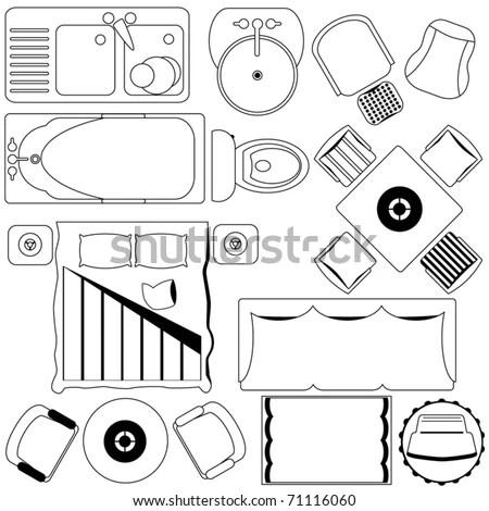 Outline Vector Of Simple Furniture Plan, Floor Plan As