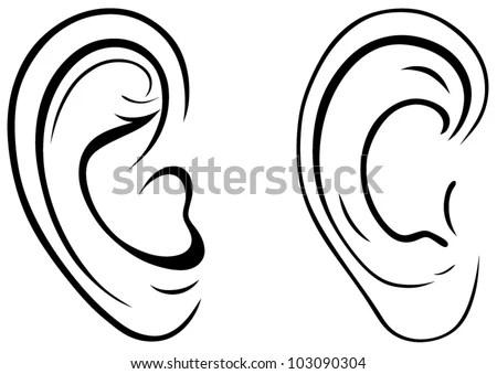 Drawing Human Ear Stock Vector Illustration 103090304