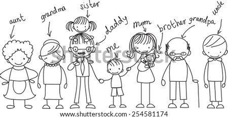 Happy family holding hands Hand drawing… Stock Photo