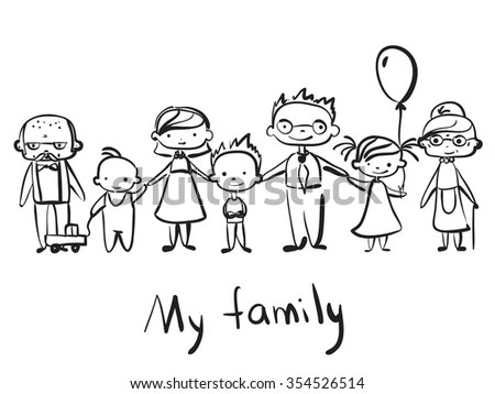 Royalty-free Vector children's doodle of happy family