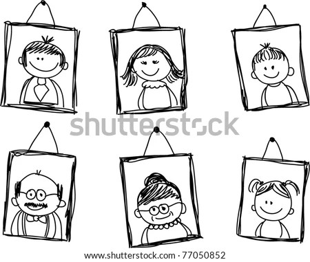 Sketches Of Family Members In The Framework Stock Vector
