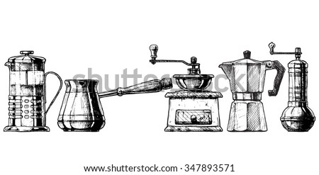 French Press, Cezve, Old Fashioned Manual Burr Mill Coffee