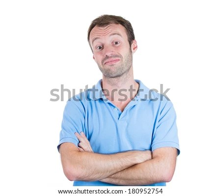 Closeup portrait of funny looking guy, skeptical male, suspicious, cocky, sarcastic business man celebrity like, arms crossed isolated on white background. Human face expressions, attitude, emotions - stock photo