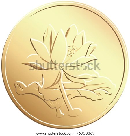 Vector Chinese Coin With A Picture Of A Flower 76958869