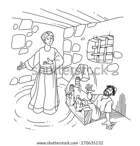 Angel And Apostle Peter In Prison Coloring Page Coloring Pages