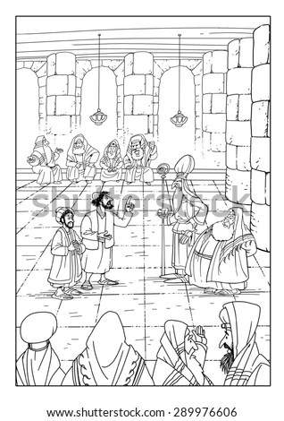 Jesus Trial Before Pilate Coloring Page Sketch Coloring Page