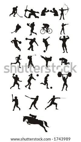 Sport Icons And Silhouette Stock Photo 1743989 : Shutterstock