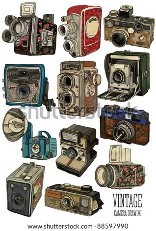 old camera set - stock vector