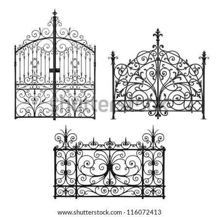 Collection Of Black Forged Gates And Forged Decorative