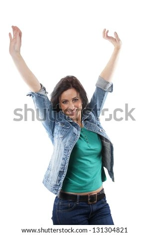 middle aged woman cheering with raised arms - stock photo