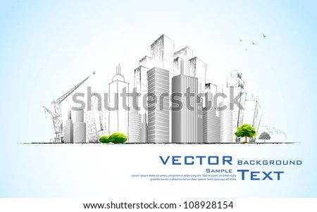 illustration of architectural building with sketch - stock vector