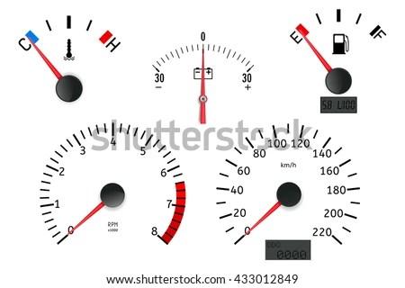 Dashboard Detailed Elements: Speedometer, Tachometer, Fuel