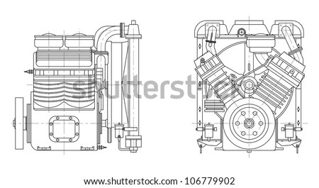 Sketch Internal Combustion Engine. Vector Eps10