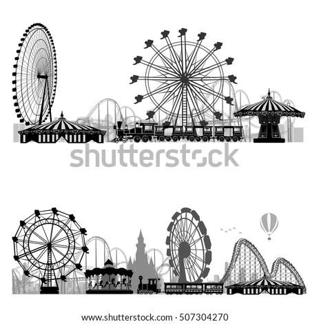 Vector illustration.Roller Coaster… Stock Photo 180556469