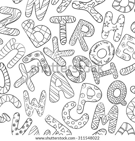 Black And White Seamless Pattern With Funny Cartoon